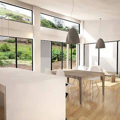 Casa J: Salas de estilo  por Andrés Hincapíe Arquitectos  A H A