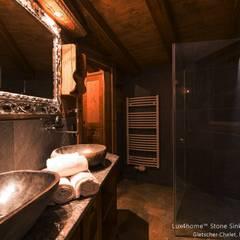 Nablatowe umywalki z kamienia polnego w łazience - umywalka z surowego kamienia: styl , w kategorii Łazienka zaprojektowany przez Lux4home™