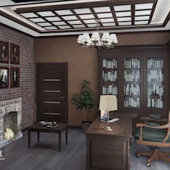 Частный дом в стиле контемпорари: Рабочие кабинеты в . Автор – PolyArt Design
