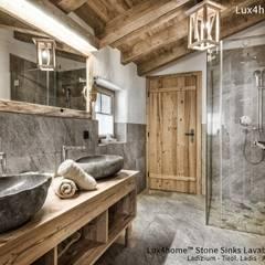 Umywalka z kamienia naturalnego na blat: styl , w kategorii Łazienka zaprojektowany przez Lux4home™