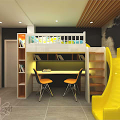 STUDY TABLE WITH BUNK BED :  Small bedroom by DESIGNIT
