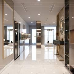 Thiết kế nội thất hiện đại căn hộ Vinhomes Central Park - ICON INTERIOR:  Cửa ra vào by ICON INTERIOR, Hiện đại