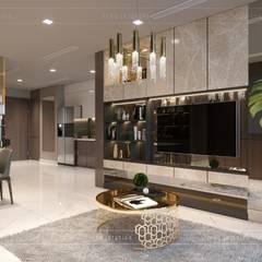 Thiết kế nội thất hiện đại căn hộ Vinhomes Central Park - ICON INTERIOR:  Phòng khách by ICON INTERIOR