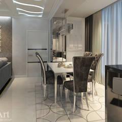 Оттенки платины.3-х комнатная квартира в ЖК Центральный.: Столовые комнаты в . Автор – PolyArt Design