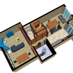 overzicht tweede verdieping:  Woonkamer door MEF Architect