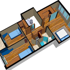Overzicht derde verdieping:  Kleine slaapkamer door MEF Architect