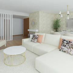 Projeto 3D Apartamento Lisboa: Salas de estar  por Ana Andrade - Design de Interiores