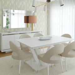 Projeto 3D Apartamento Lisboa: Salas de jantar  por Ana Andrade - Design de Interiores