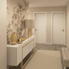 Projeto 3D - Apartamento Montijo: Corredores e halls de entrada  por Ana Andrade - Design de Interiores
