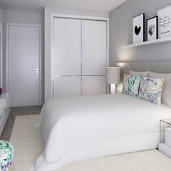 Projeto 3D - Apartamento Montijo: Quartos  por Ana Andrade - Design de Interiores