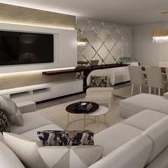 Projeto 3D - Apartamento Montijo: Salas de estar  por Ana Andrade - Design de Interiores