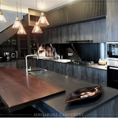 Industrial Style at Craig Road Shophouse:  Kitchen by Singapore Carpentry Interior Design Pte Ltd,