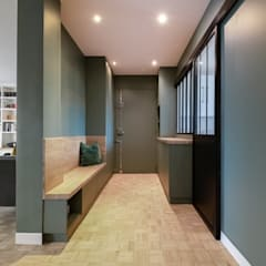 Rénovation à Saint Maurice : Couloir et hall d'entrée de style  par Anne Lapointe Chila