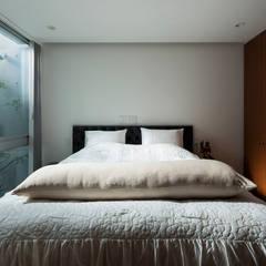 TWIN COURT HOUSE: 株式会社横山浩介建築設計事務所が手掛けた寝室です。