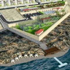 Mimari 3D Render  – Akliman Wilları Sosyal Tesis Planlama ve Peyzaj Projesi - Çanakkale/Akliman:  tarz Bahçe