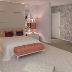 Projeto 3D - Moradia Luanda: Quartos  por Ana Andrade - Design de Interiores