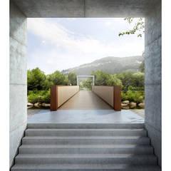 Ticino Bridge in Agno, TI, Switzerland: Terraços  por Natalia Bencheci