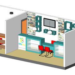 Maqueta y vista de mobiliario y color: Estudios y oficinas de estilo  por Ponce Interiores