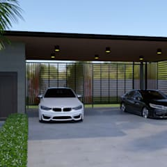 Garajes abiertos de estilo  por บริษัท พี นัมเบอร์วัน ดีไซน์ แอนด์ คอนสตรัคชั่น จำกัด