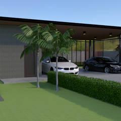 โรงจอดรถแบบจำลอง 3D:  โรงจอดรถ by บริษัท พี นัมเบอร์วัน คอนสตรัคชั่น จำกัด