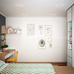 Phòng ngủ nhỏ với vách tường được trang trí khá dễ thương và năng động:  Phòng trẻ em by Công ty TNHH Nội Thất Mạnh Hệ