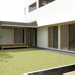판교 중목구조 주택: 건축사사무소 모뉴멘타의  정원,모던 우드 우드 그레인