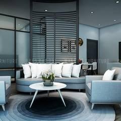 Phòng khách mang phong cách hiện đại đầy trẻ trung và sang trọng:  Phòng khách by Công ty TNHH Nội Thất Mạnh Hệ