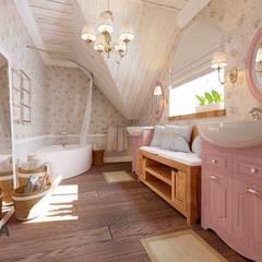 """Дом """"Шале"""": Ванные комнаты в . Автор – дизайн-студия PandaDom, Кантри"""