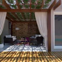 ESPAÇO GOURMET GD - opção de fachada 02: Terraços  por Cíntia Schirmer   Estúdio de Arquitetura e Urbanismo