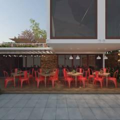 RESTOBAR/ BISTRÔ EM CONTEINERES: Gastronomia Italiana: Espaços gastronômicos  por Cíntia Schirmer | Estúdio de Arquitetura e Urbanismo