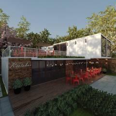 Restaurantes de estilo  por Cíntia Schirmer | arquiteta e urbanista, Industrial Metal