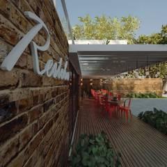 RESTOBAR/ BISTRÔ EM CONTEINERES: Gastronomia Italiana Espaços gastronômicos industriais por Cíntia Schirmer | arquiteta e urbanista Industrial Metal