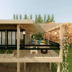 Projekty,  Dom z drewna zaprojektowane przez Cíntia Schirmer | Estúdio de Arquitetura e Urbanismo