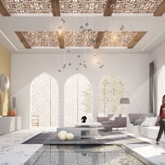 DISEÑO DE INTERIORES - VILLA DUBAI - : Salas de estilo  por Prototype studio, Mediterráneo