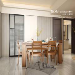 餐廳/木作/玻璃/拉門/超耐磨木地板:  餐廳 by 木博士團隊/動念室內設計制作