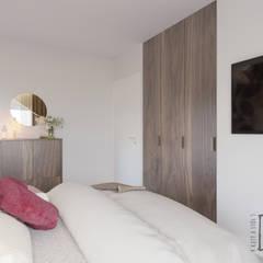 """""""Zielono mi!"""" Słupno: styl , w kategorii Małe sypialnie zaprojektowany przez 4 kąty a stół 5 Pracownia Projektowa Ewelina Białobrzewska"""