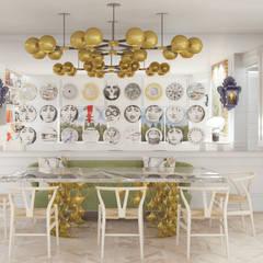 Pequeno, grande apartamento Estoril: Salas de jantar  por Inêz Fino Interiors, LDA