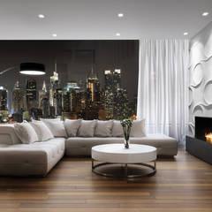 Kaminverkleidung als Highlight - dekorative Wandpaneele LOFT DESIGN SYSTEM für alle Kaminarten:  Wohnzimmer von Loft Design System Deutschland