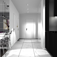 kuchnia z widokiem na holl: styl , w kategorii Aneks kuchenny zaprojektowany przez 91m2 Architektura Wnętrz