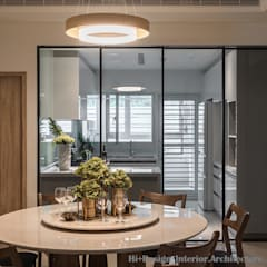 新北市五股區九揚萊茵堡電梯住宅:  餐廳 by Hi+Design/Interior.Architecture. 寰邑空間設計,