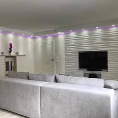 Dekorative Kaminverkleidung - 3D Wandpaneele aus Gips Modell Nr. 28:  Wohnzimmer von Loft Design System Deutschland