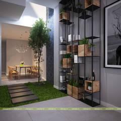 THIẾT KẾ NỘI THẤT NHÀ PHỐ 2 TẦNG HIỆN ĐẠI:  Phòng khách by UK DESIGN STUDIO - KIẾN TRÚC UK
