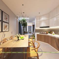 THIẾT KẾ NỘI THẤT NHÀ PHỐ 2 TẦNG HIỆN ĐẠI:  Phòng ăn by UK DESIGN STUDIO - KIẾN TRÚC UK