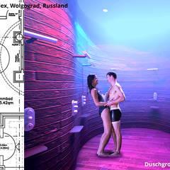 Duschgrotte im Schwimmbad:  Hotels von GID│GOLDMANN - INTERIOR - DESIGN