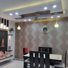 3 BHK flat at Indrapurum, Ghaziabad:  Dining room by Design Kreations,Modern Wood Wood effect