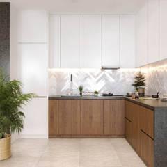 Pastelowy naturalizm: styl , w kategorii Kuchnia zaprojektowany przez Valido Architects