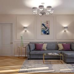 Светлая квартира в современной классике.: Гостиная в . Автор – дизайн-бюро ARTTUNDRA