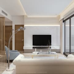 Modern Glamour at Holland Village Condo:  Living room by Singapore Carpentry Interior Design Pte Ltd