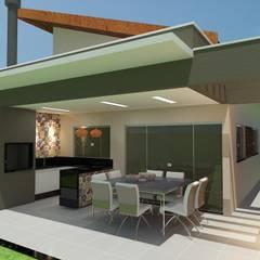 Varanda de Churrasqueira: Casas familiares  por Júlio Padilha Fabiani - Arquiteto