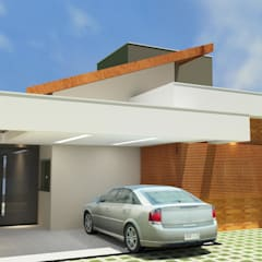 Garagem: Casas familiares  por Júlio Padilha Fabiani - Arquiteto
